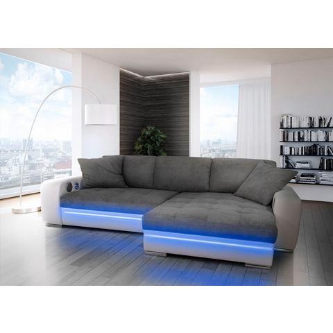 Hoekbank, naar keuze met slaapfunctie, RGB LED en Bluetooth geluidssysteem