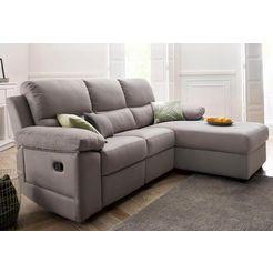 atlantic home collection hoekbank met relaxfunctie en veerkern grijs