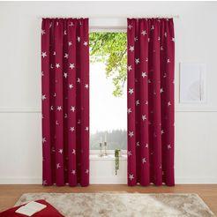 my home gordijn blackout curtain with foil print star (1 stuk) paars