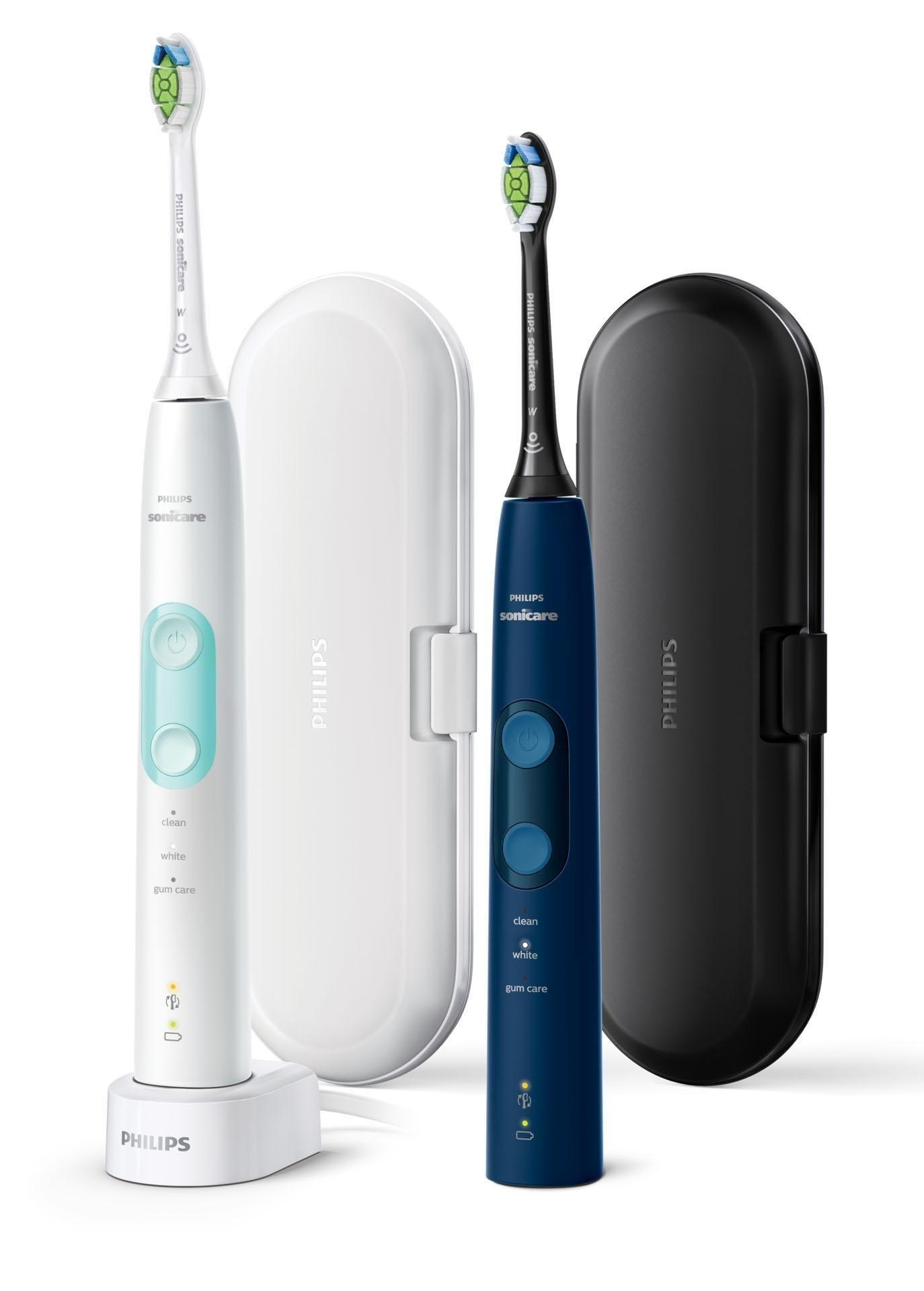 Philips Sonicare elektrische tandenborstel HX6851/34 ProtectiveClean 5100, ultrasone tandenborstel, 3 poetsprogramma's, inclusief 2 reistasje & oplader, wit & blauw (set) veilig op otto.nl kopen