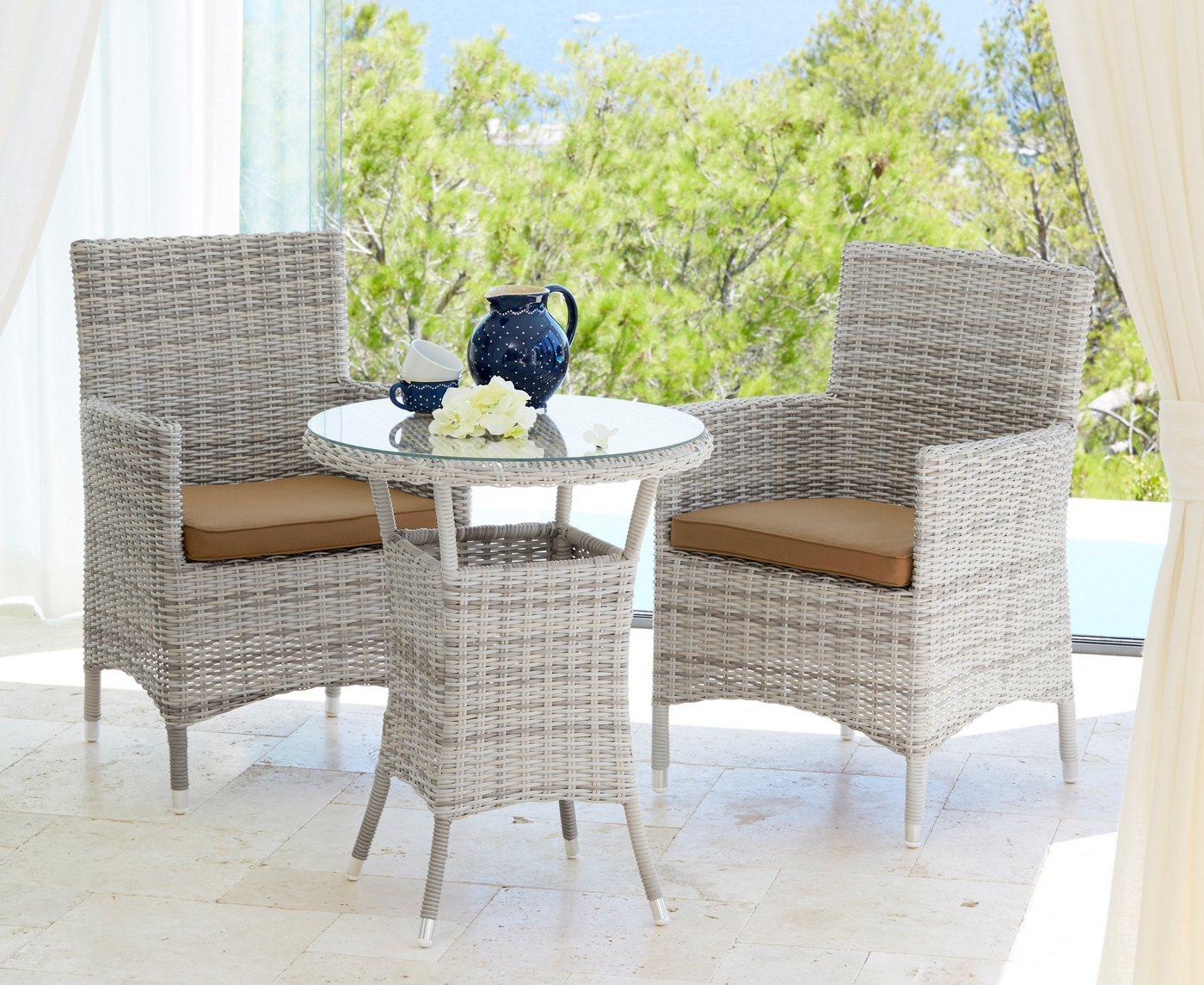 Tuinmeubelset Bali, 2 stoelen, 1 tafel Ø 60 cm, poly-rotan, wolwit