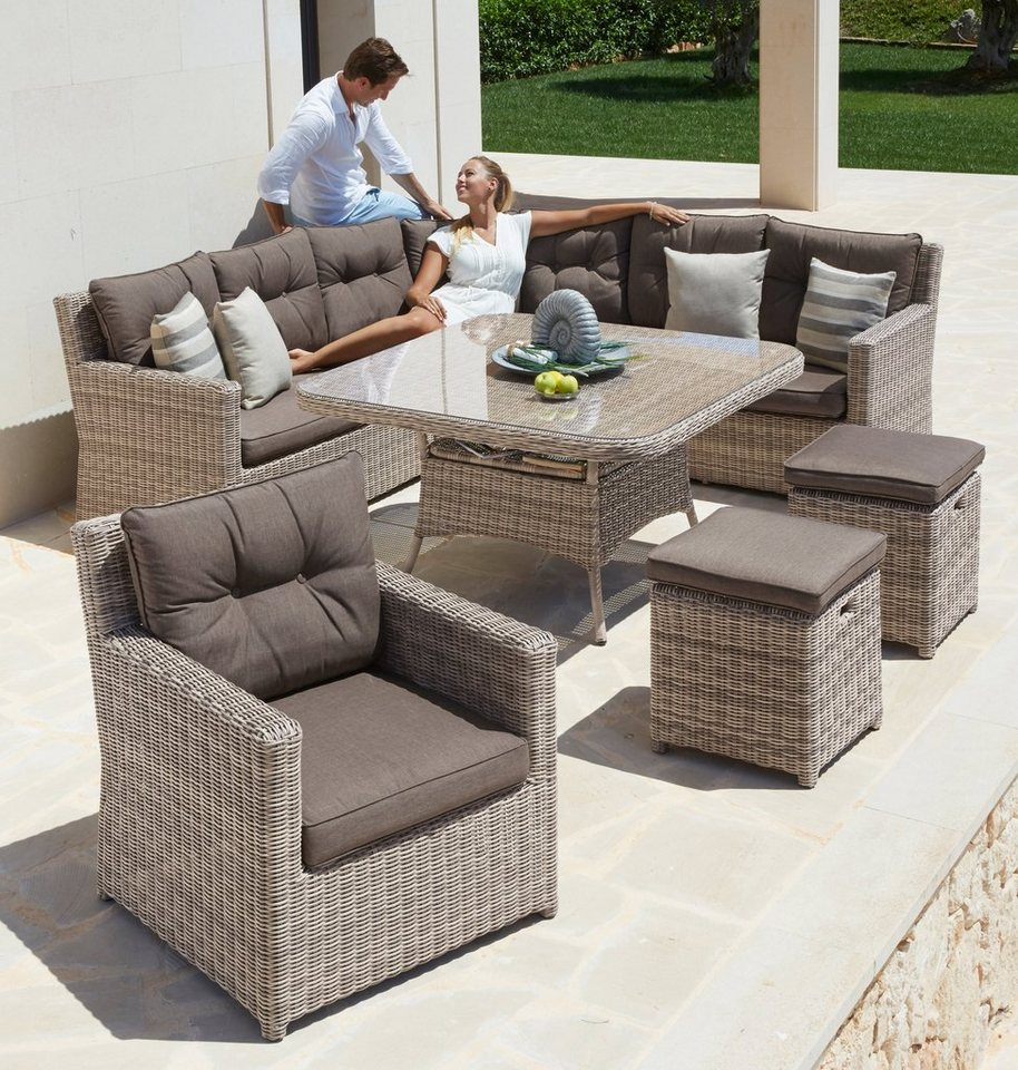 Tuinmeubelset Bahamas, Hoek-loungeset, stoel, 2 hockers, tafel, poly-rotan, bruin