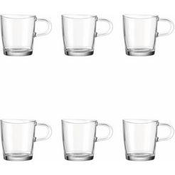 set: glas met oor, leonardo, »loop« (6-tlg.), inhoud 180 ml wit