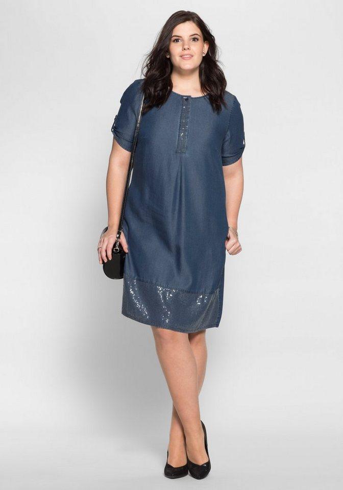 Sheego Style jeansjurk met pailletten blauw