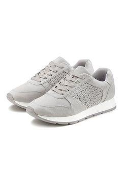 lascana sneakers met filigraan verwerkte uitsparingen grijs