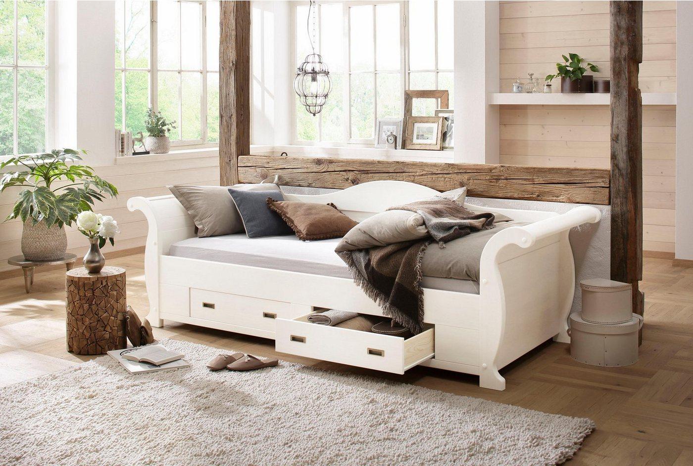 HOME AFFAIRE ledikant met bergruimte Bella, met decoratief freeswerk, ligoppervlak: 90x200 cm