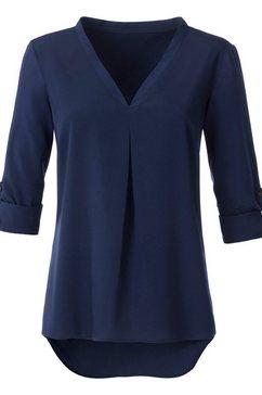 ambria lange blouse met v-hals blauw