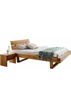 premium collection by home affaire ledikant ultima 3-delig, van mooi massief vurenhout in balk-look, bestaand uit 180 cm bed + 2 nachtkastjes (set, 3 stuks) beige