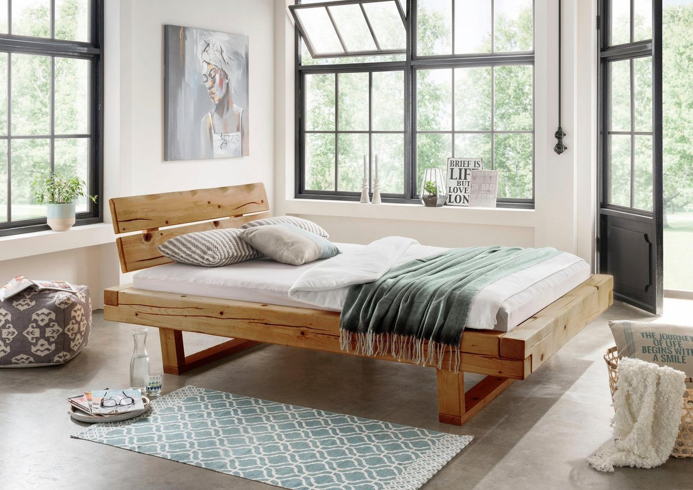 Premium collection by HOME AFFAIRE ledikant Ultima van massief hout in balk-look