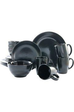 combi-servies, aardewerk, 16-delig, mat-zwart