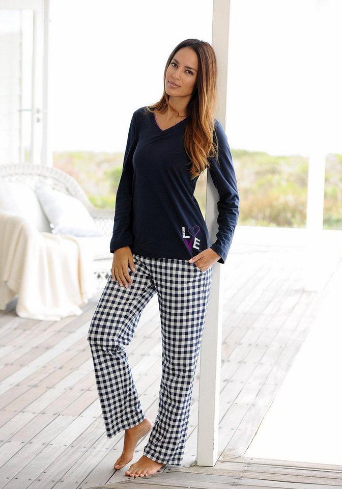 ARIZONA pyjama met lage mouwen en geruite broek