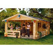 skanholz set: tuinhuisje »alicante 1 (bxd: 380 x 513 cm)«, bxd: 420x553 cm, inclusief luifel met borstwering en vloer beige