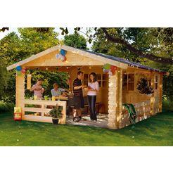 skanholz set: tuinhuisje »alicante 2 (bxd: 380 x 563 cm)«, bxd: 420x603 cm, inclusief luifel met borstwering en vloer beige