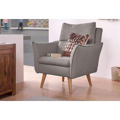 home affaire fauteuil met stiksels achter en 1 sierkussen van dezelfde stof als de bekleding grijs