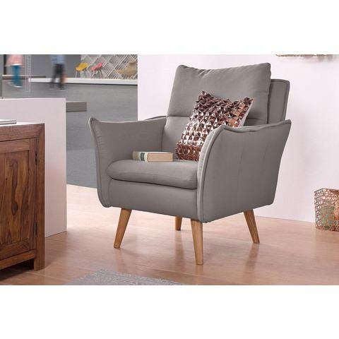 HOME AFFAIRE fauteuil met stiksels achter en 1 sierkussen van dezelfde stof als de bekleding