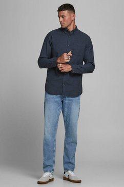 jack  jones overhemd met lange mouwen classic melange shirt blauw