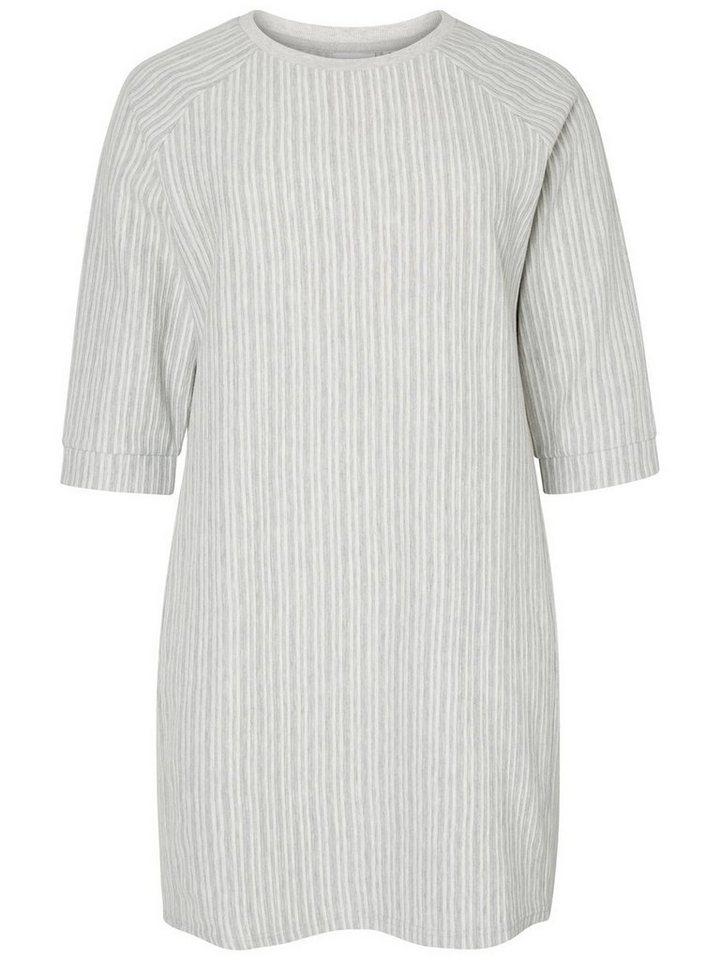 Junarose jurk met 3/4-mouwen en ronde hals grijs