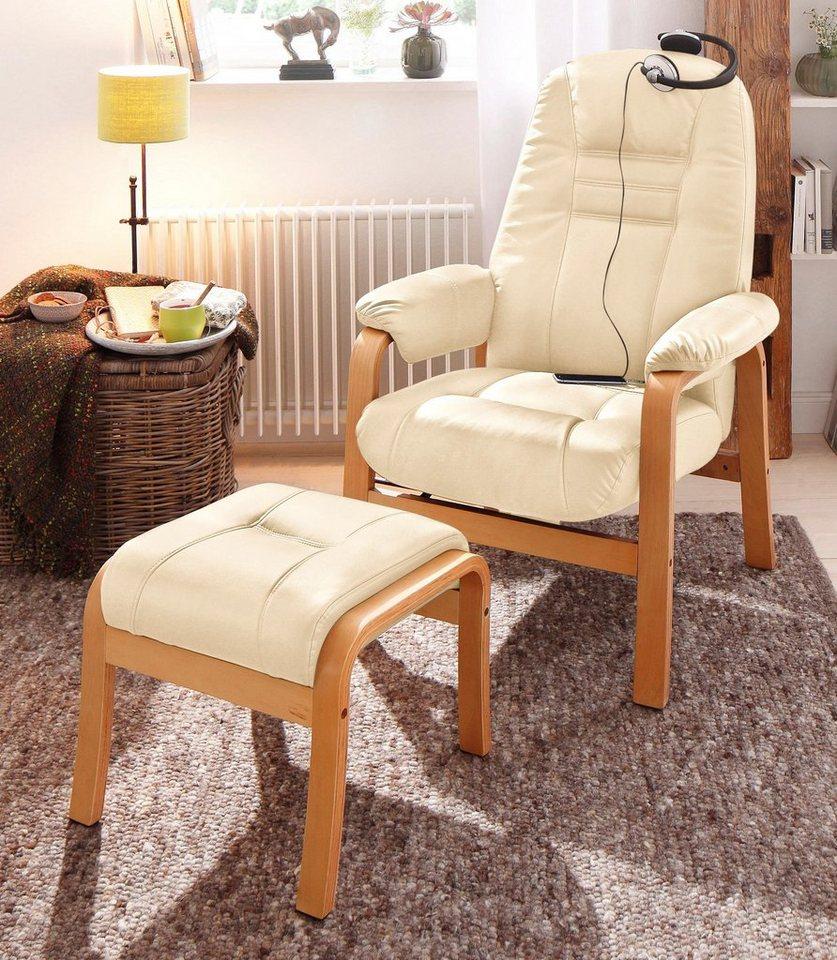 Home affaire relaxfauteuil 'Avignon', kantelbaar met hocker, houten onderstel
