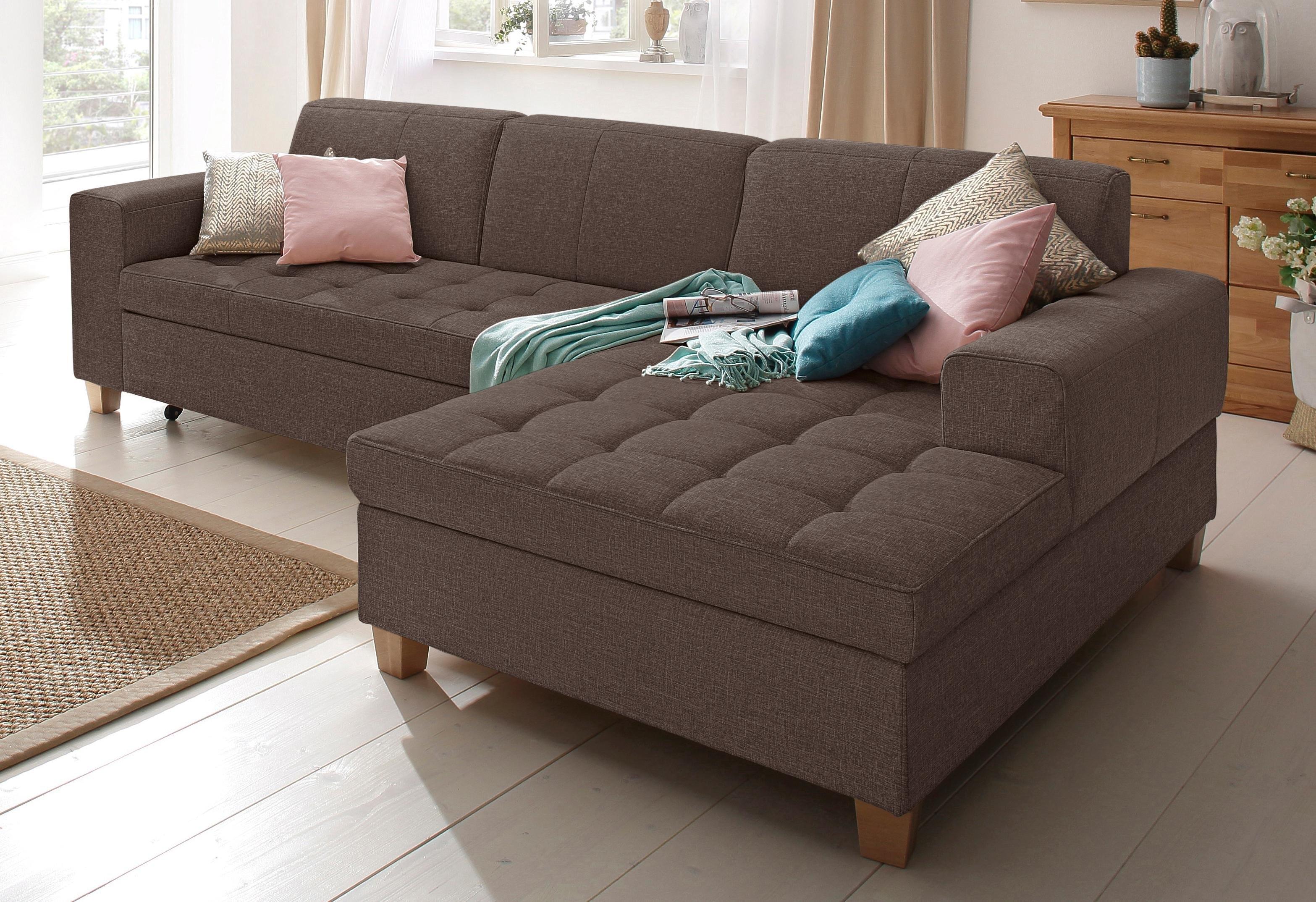 Home affaire hoekbank, naar keuze met slaapfunctie, stiksels op zitoppervlak online kopen op otto.nl