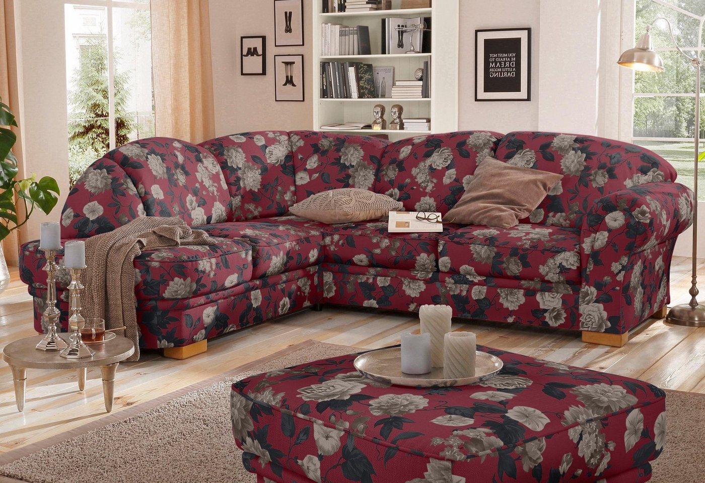 HOME AFFAIRE hoekbank Amrum, met bloemmotief, naar keuze met slaapfunctie en ottomane links/rechts