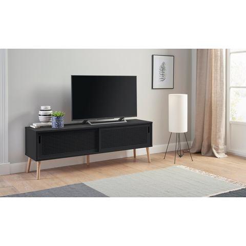 andas tv-meubel Scala, breedte 158 cm, met 2 schuifdeuren en gelakt bovenblad
