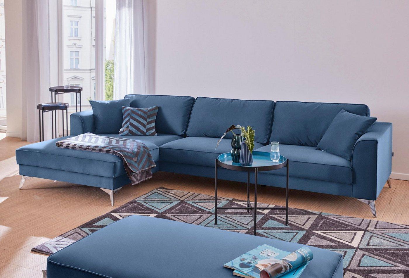 GMK Home & Living moderne hoekbank Juta, met hoogwaardige metalen poten