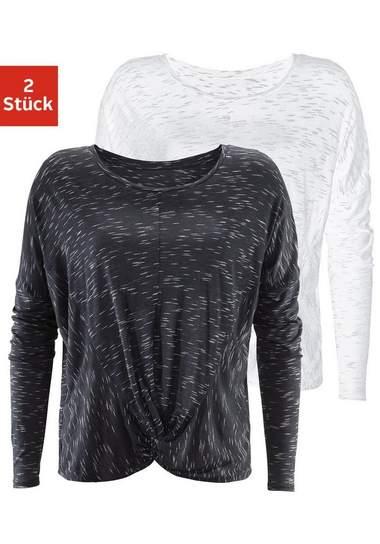 LASCANA shirt met lange mouwen (set van 2)