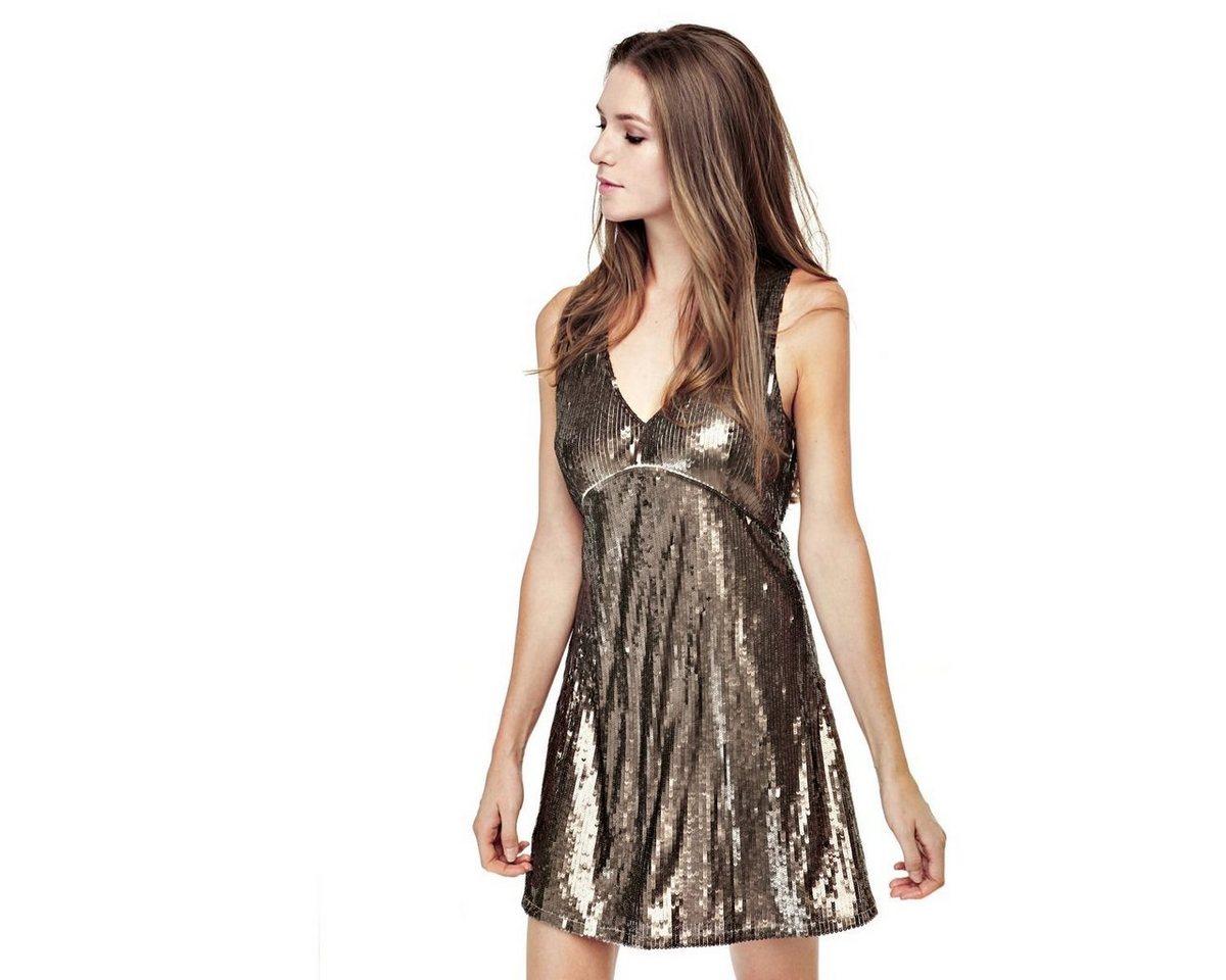 Guess jurk met pailletten bruin