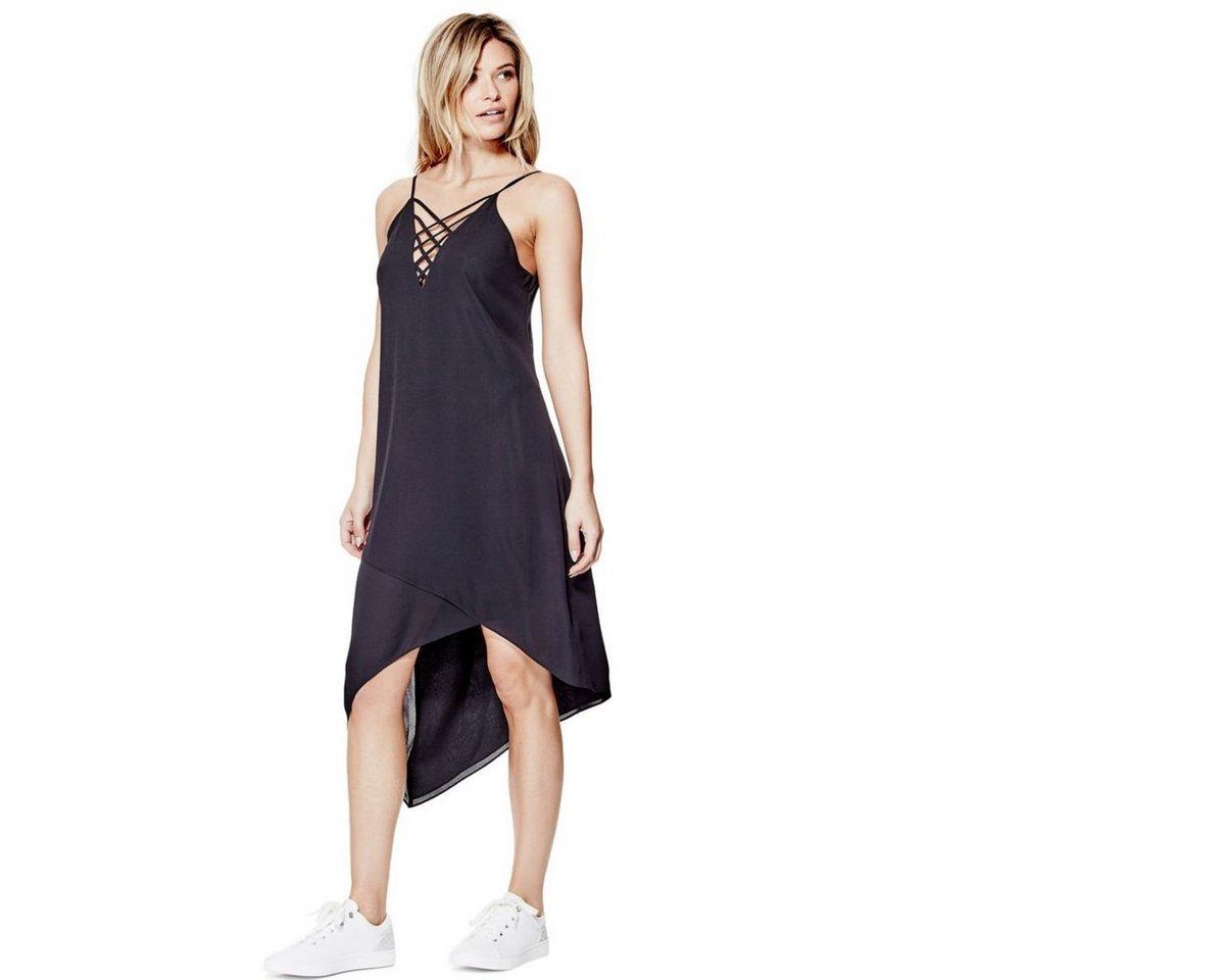 Guess asymmetrische jurk met bandjes zwart