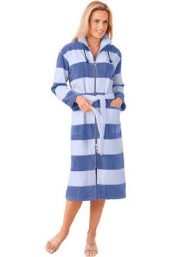 badmantel met staande kraag blauw