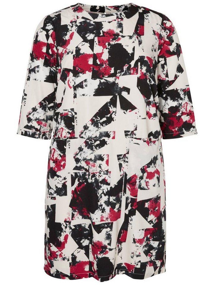 Junarose jurk met 3/4-mouwen en voorzakken grijs
