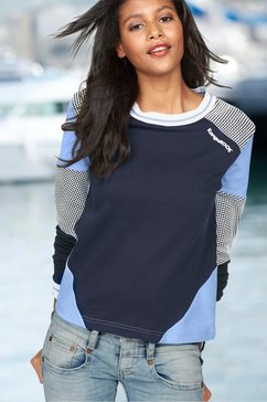 kangaroos sweatshirt in colourblocking-design met stippen blauw