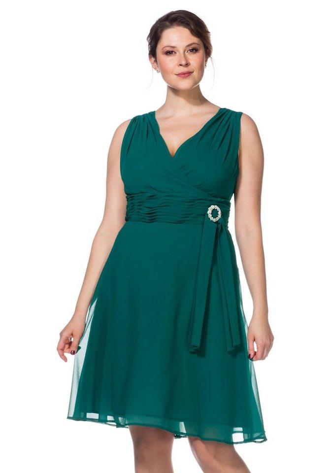 sheego Style sheego Style avondjurk met sierbroche groen