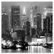 places of style metalen artprint, »new york by night«, 50x50 cm zwart