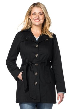 sheego casual sheego casual trenchcoat in kort model zwart