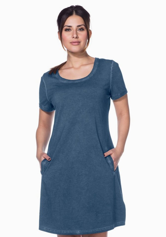 sheego Casual sheego Casual jerseyjurk in oil-washed-look blauw