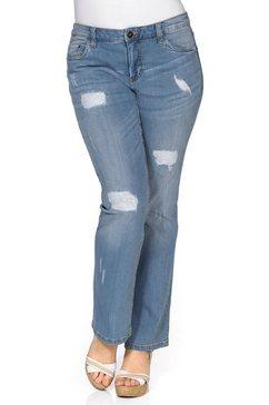 sheego denim bootcut jeans met destroyed en used effecten blauw