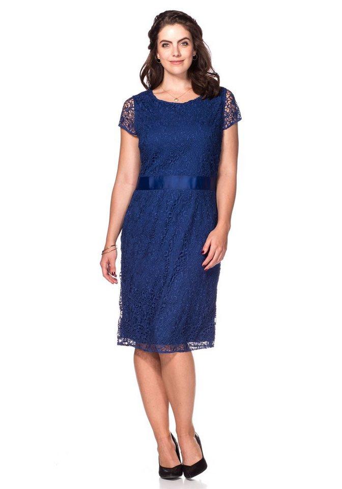 Joe Browns Joe Browns kanten jurk met transparante mouwen blauw