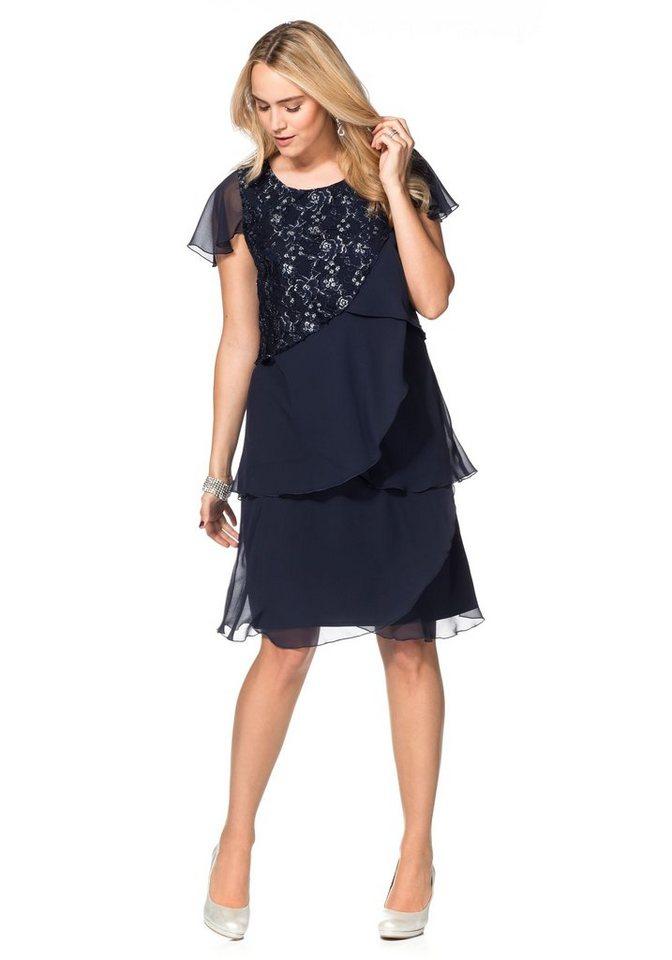 sheego Style Sheego Style chiffonjurk met kant en volants blauw