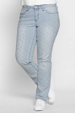 sheego denim stretch jeans met all-over borduursel blauw