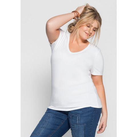 Sheego Basic NU 15% KORTING: sheego Basic BASIC T-shirt met V-hals