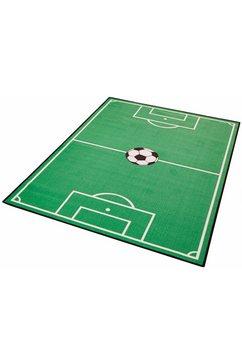 zala living vloerkleed voor de kinderkamer voetbalveld 1 korte pool, voetbal-speelkleed groen