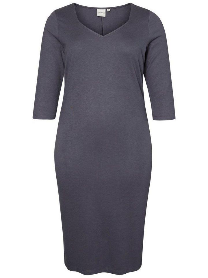 Junarose jurk met 3/4-mouwen en V-hals blauw
