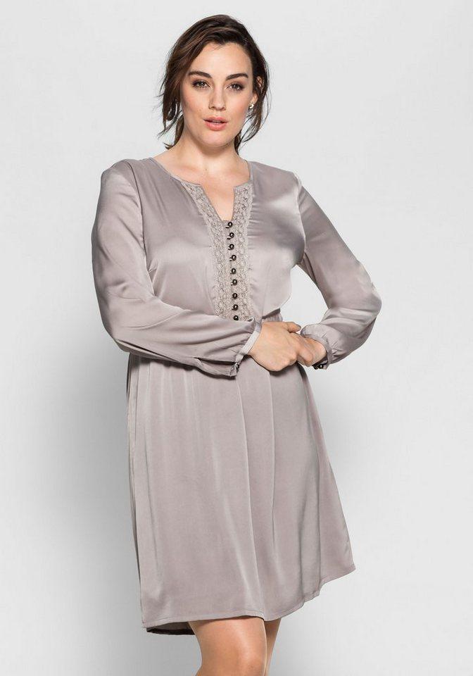 sheego Style Sheego Style satijnen jurk met kant grijs