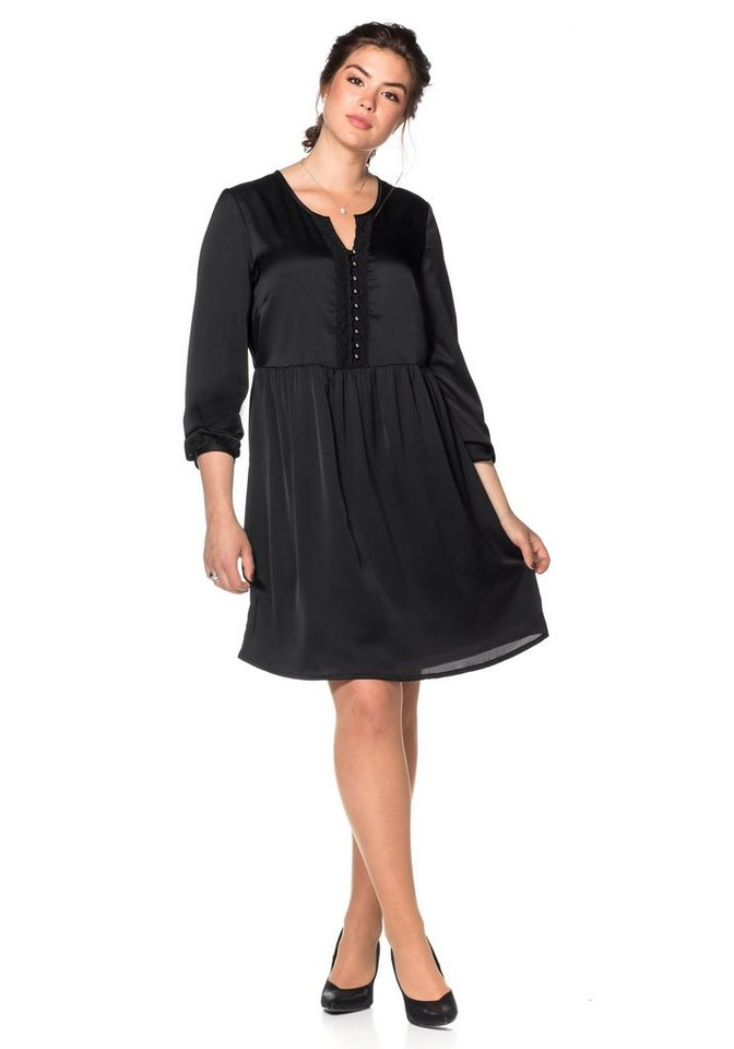 sheego Style Sheego Style satijnen jurk met kant zwart