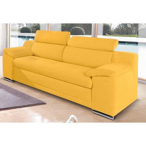 woonkamer driepersoons bankstel geel structuur SIT en MORE met verstelbare hoofdsteun