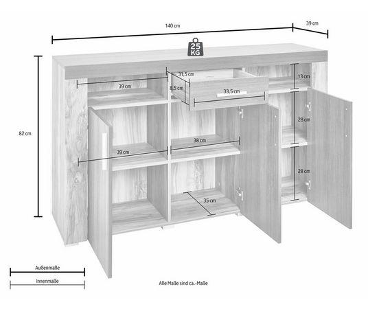 sideboard breedte 140 cm makkelijk gekocht otto. Black Bedroom Furniture Sets. Home Design Ideas