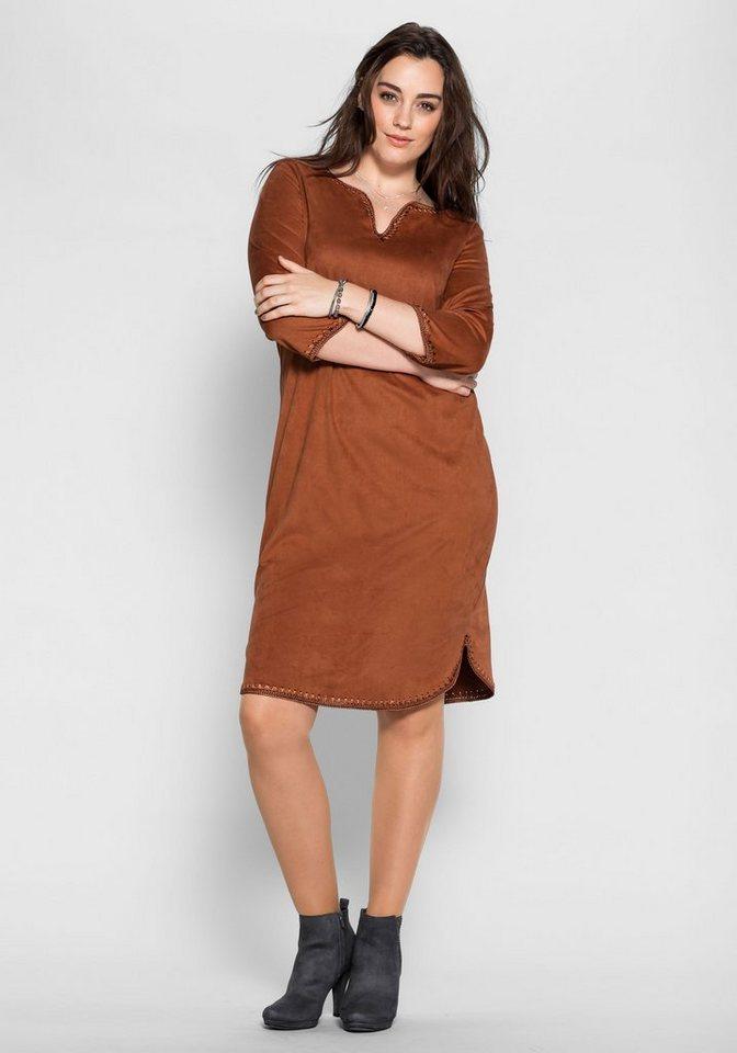 sheego Style Sheego Style jurk in sude-look bruin