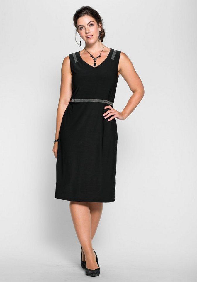 sheego Style Sheego Style jerseyjurk met glanzende sierkraaltjes zwart