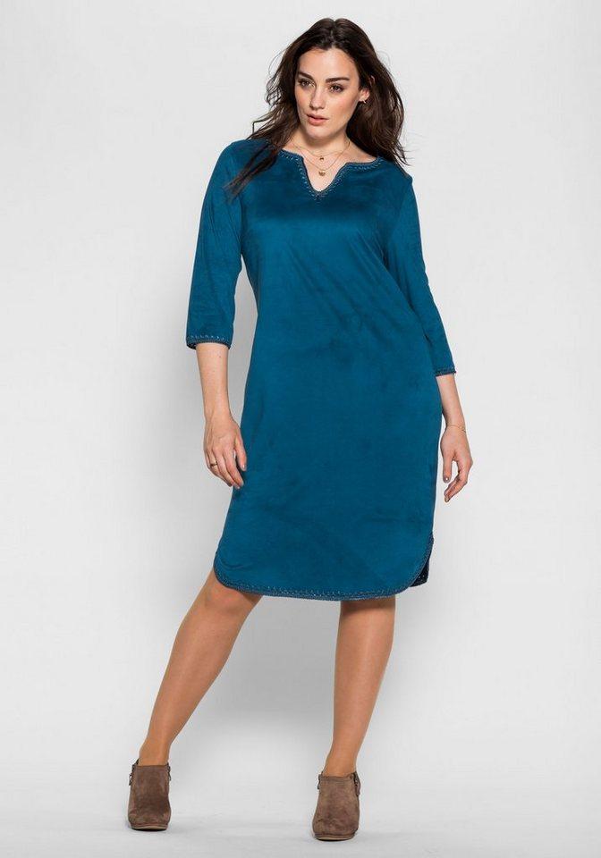 sheego Style Sheego Style jurk in sude-look blauw